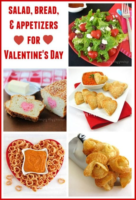 Valentine's Day salad, bread, and appetizers including Mozzarella Heart Pastries and Fried Won Ton Hearts.