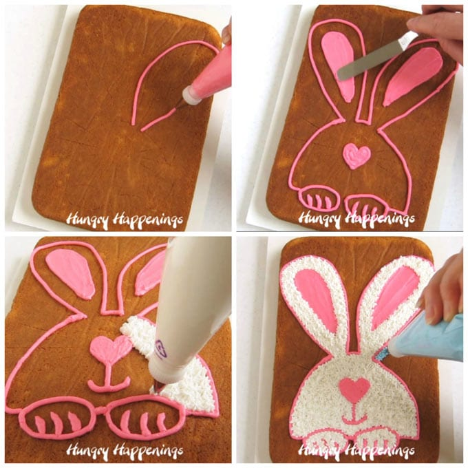 pipe a pink boarder to create an Easter bunny design on a cake then fill it in with white frosting and pink ears, nose, and paws