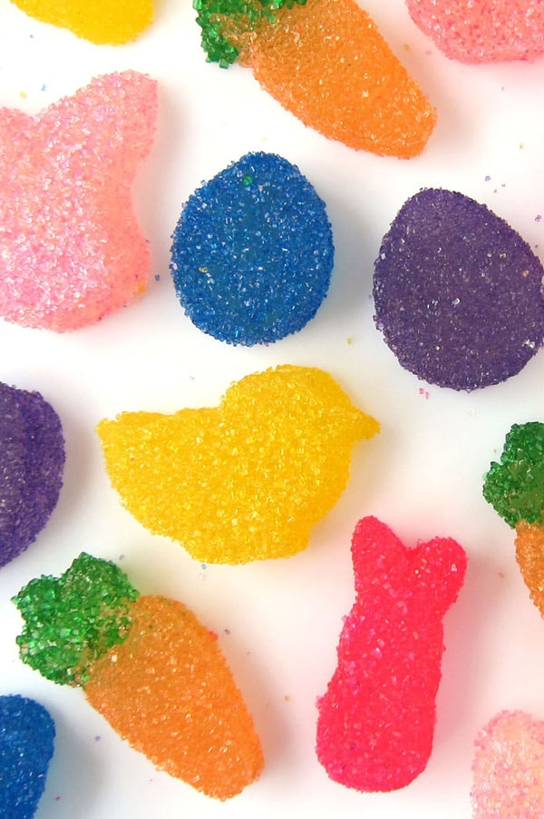 These cute bunny, carrot, chick, and Easter egg shaped sour gumdrops are soft and chewy and really delicious.