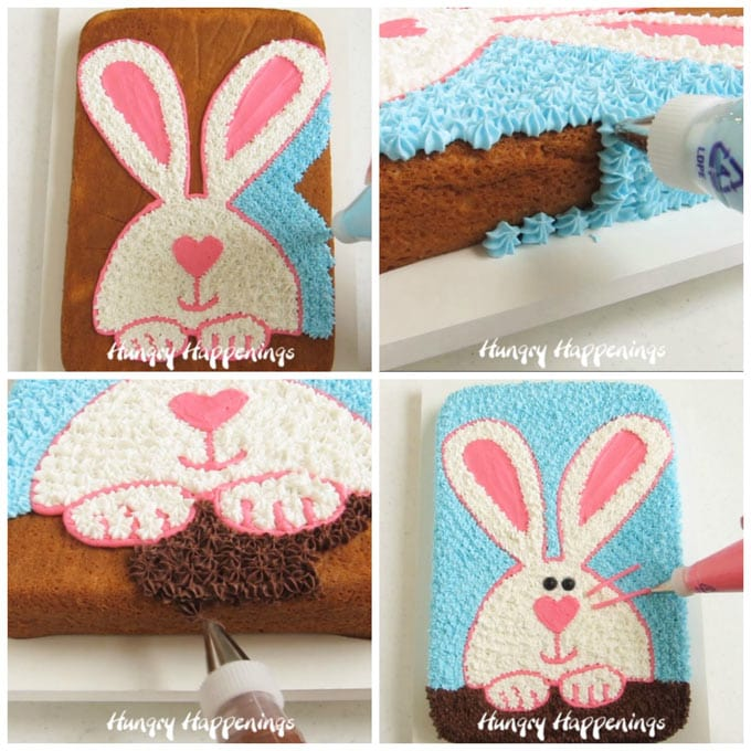 Pipe blue frosting around the bunny then add chocolate frosting below his paws and add pink whiskers