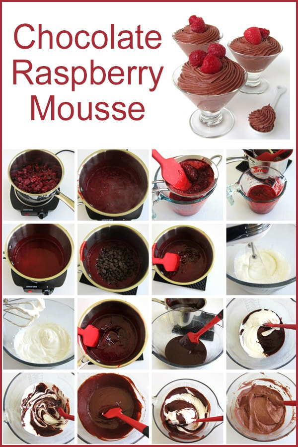 Learn how to make chocolate raspberry mousse using frozen raspberries, chocolate chips, and heavy whipping cream.