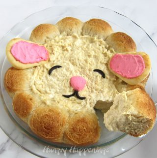 Dig into an Easter chicken dip that's decorated to look like a little lamb.