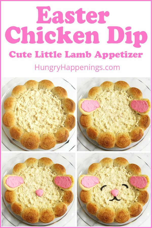 Bake chicken dip surrounded by rolls then decorate it with pink ears and a nose along with black olive eyes and mouth to create a cute little lamb for Easter.