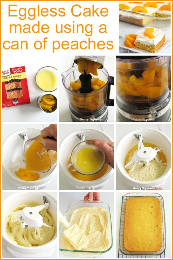 How to make an eggless cake using a can of peaches.