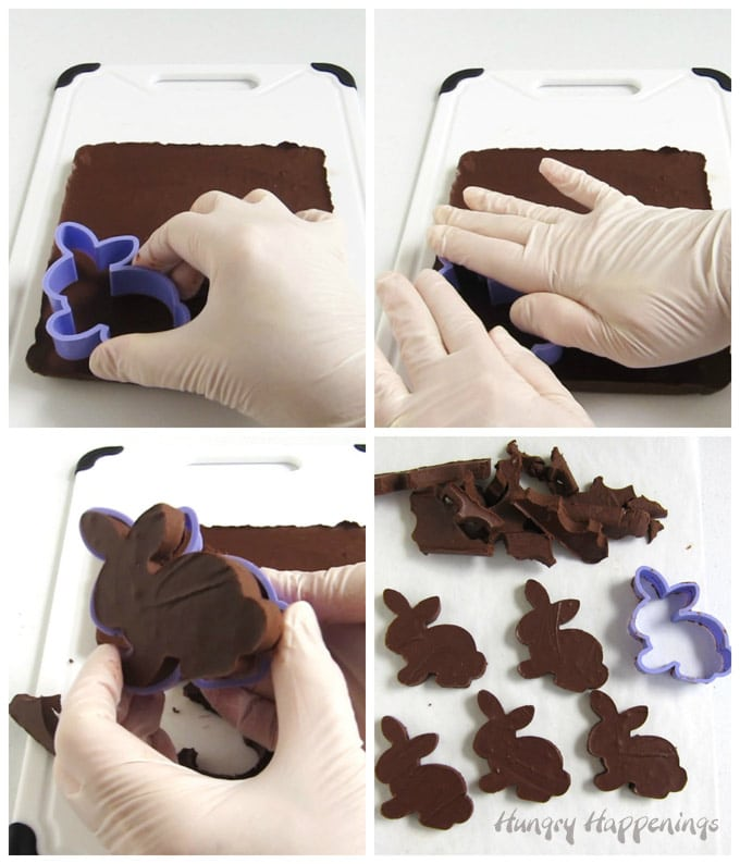 Cut chocolate almond butter fudge into Easter bunnies using a cookie cutter.