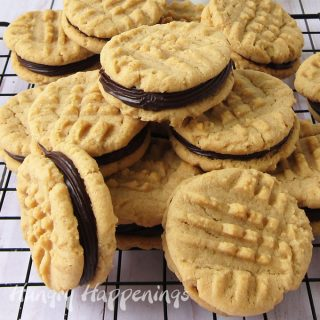 Peanut butter cookies sandwiched together with chocolate ganache filling.