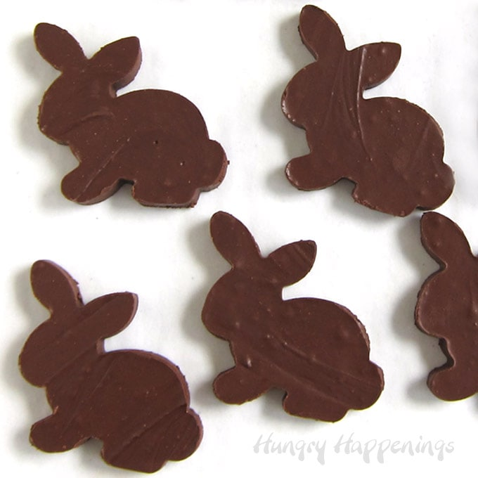Chocolate fudge Easter bunnies can be made using regular chocolate chips or sugar-free chocolate.