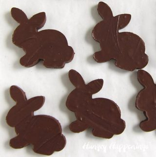 Sugar-free chocolate fudge Easter bunnies.