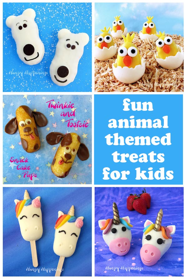 Fun animal-themed treats for kids including Nutter Butter Polar Bears, Twinkie Puppies, unicorn cakesicles and more.