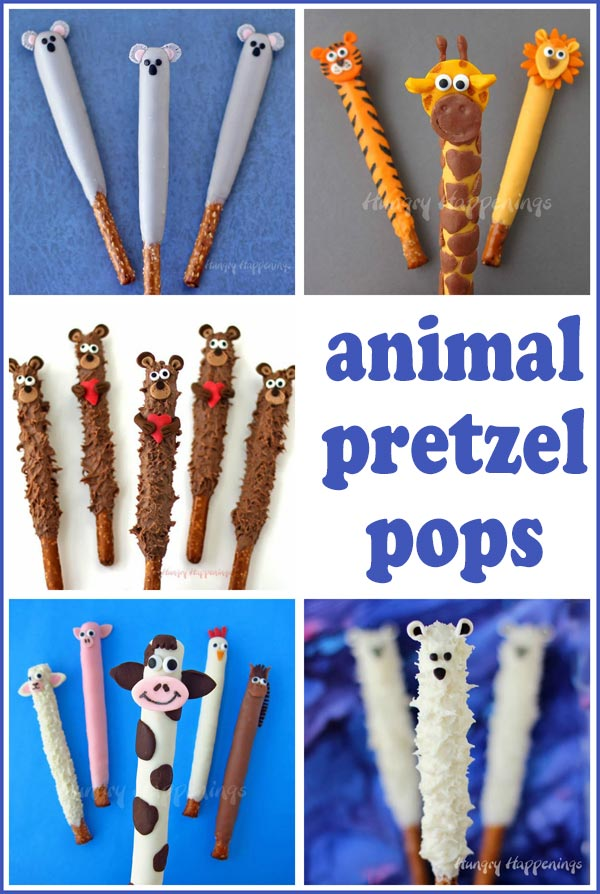 chocolate dipped pretzels decorated like animals including bears, cows, pigs, tigers, lions, giraffes, and koalas