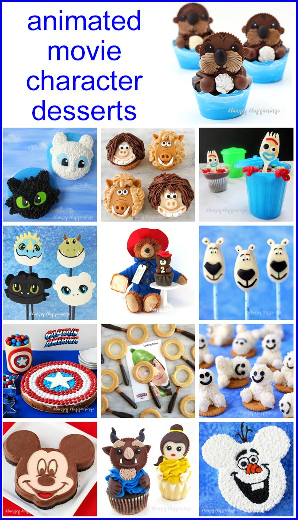 animated movie character desserts including Mickey Mouse Cheesecake, Night Fury Cakes, Finding Dory Cupcakes, Forky Trash Can Treats, and more.