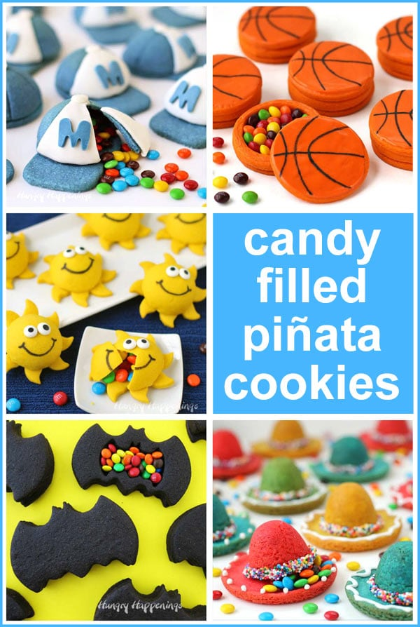 candy filled pinata cookies including baseball caps, basketballs, batman bats, sombrero hats, and smiley face sunshine cookies