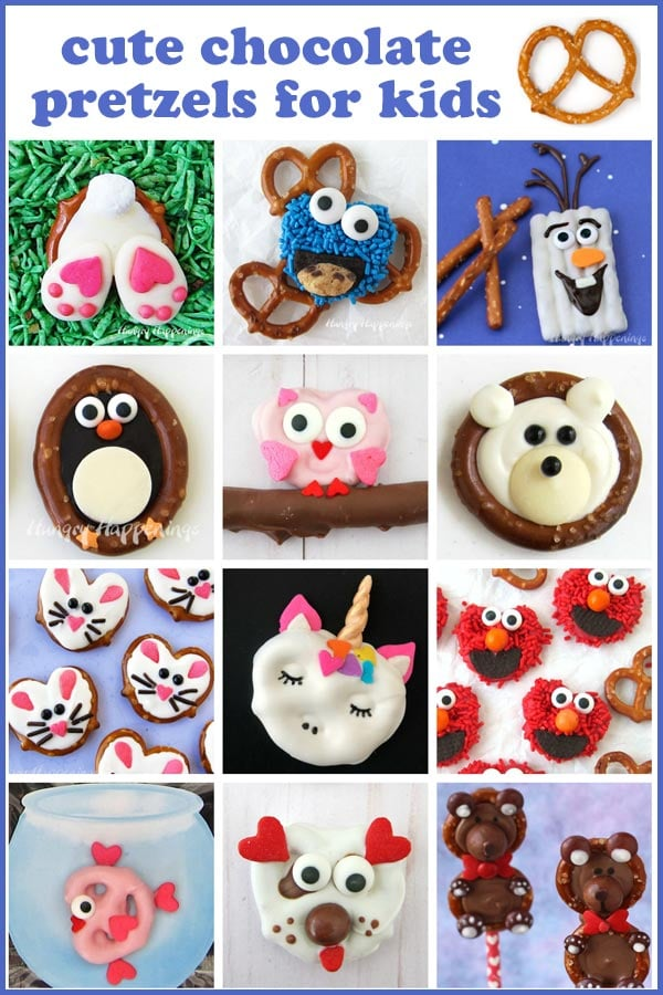 chocolate dipped pretzels decorate like Cookie Monster, Olaf, Elmo, and penguins, unicorns, owls, bears, bunnies, and more