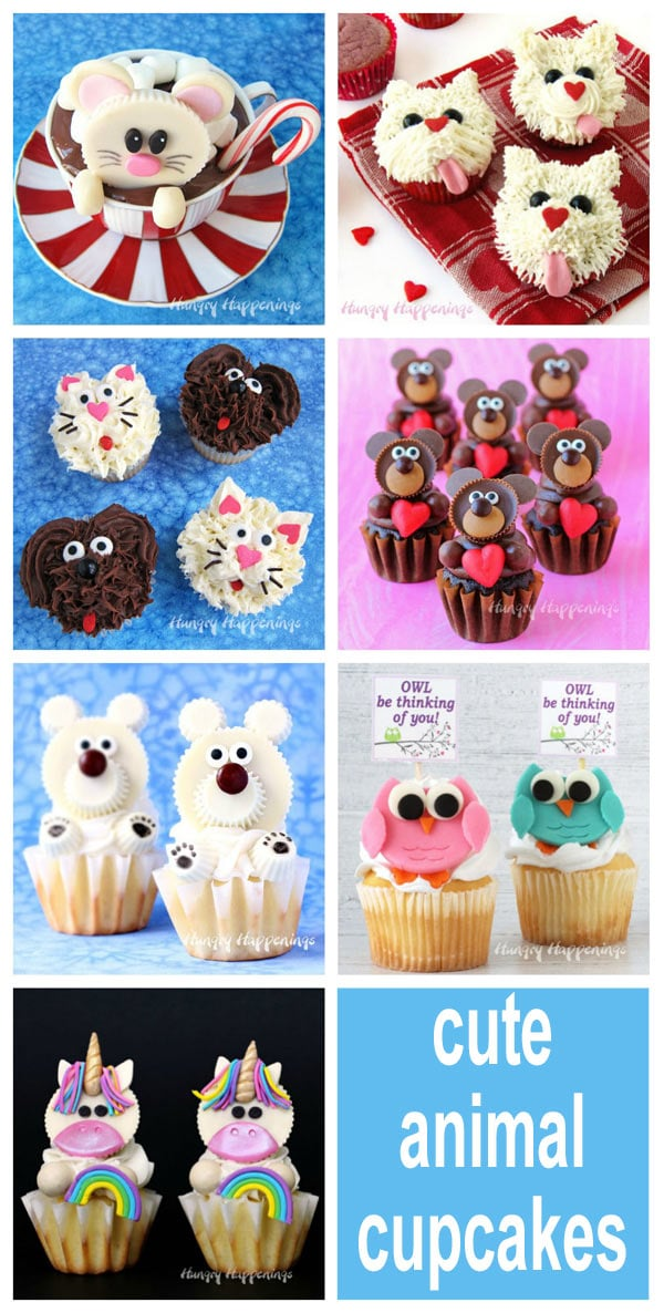 cute animal cupcakes including bears, dogs, cats, owls, unicorns, and mice