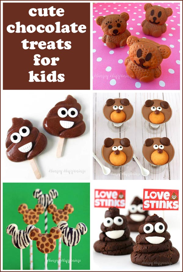 fun chocolate treats for kids including poop emoji popsicles, Mickey Mouse lollipops, pudding cup bears and more