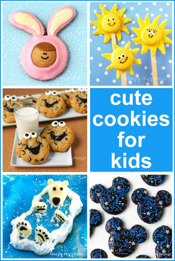 decorate cute cookies for kids like Mickey Mouse galaxy cookies, smiley face chocolate chip cookies, polar bear cookies and more