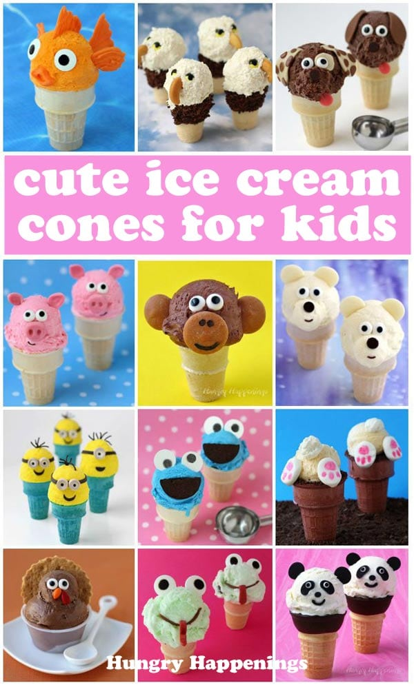 Decorated ice cream cones for kids including monkeys, panda bears, pigs, dogs, bunnies, Cookie Monster, Minions, and more.