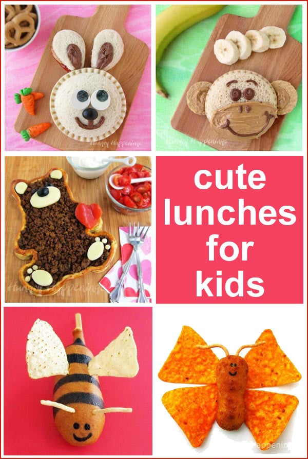 Cute lunches for kids including bunny sandwiches, PB&J monkeys, corn dog bumble bees, and chicken nugget butterflies.