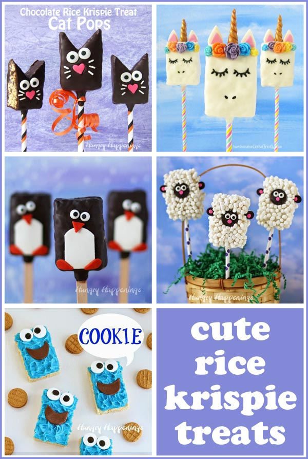 Decorated rice krispie treats for kids including black cats, unicorns, penguins, little lambs, and Cookie Monster.