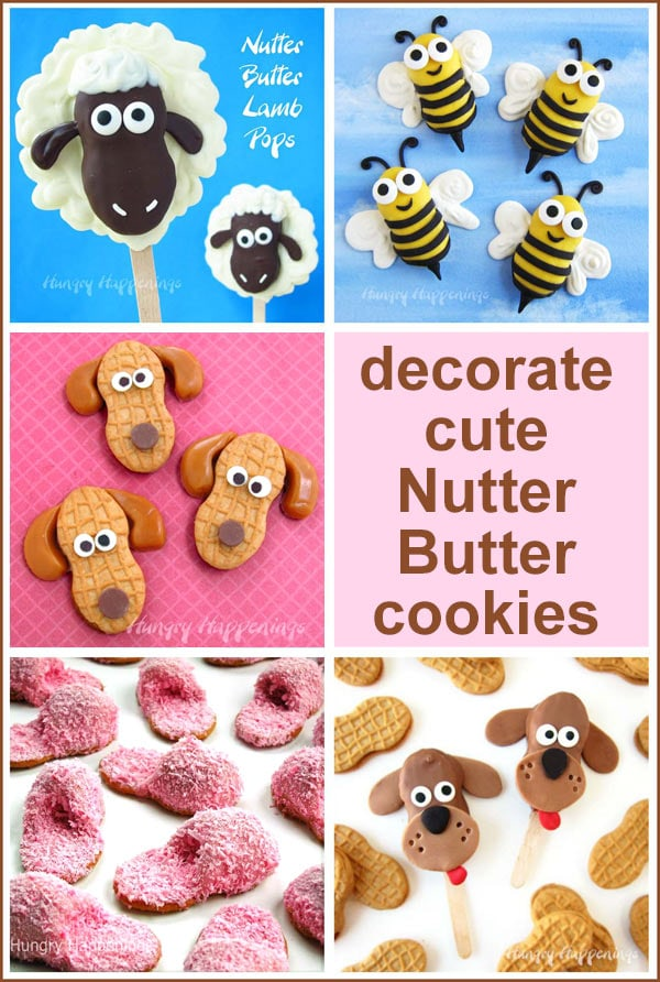 Decorated Nutter Butter Cookies including bumble bees, Puppies, Pink Fuzzy Slippers and more.