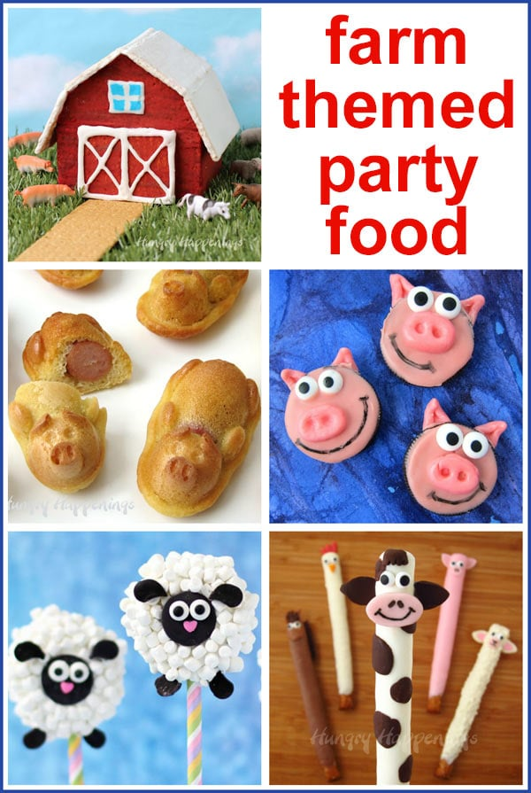 Farm-themed snacks and desserts including a graham cracker barn, pigs in a blanket, Oreo Cookie pigs, Oreo Lambs, and Pretzel cows, horses, chickens, and more.