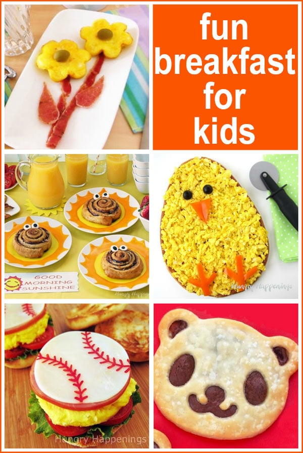 Fun breakfast recipes for kids including scrambled egg flowers, breakfast pizza chicks, baseball breakfast sandwiches, and more.