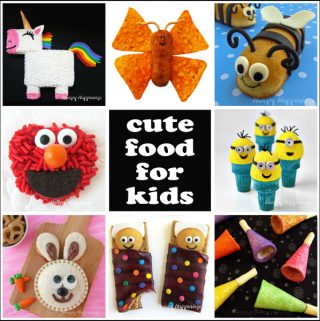 Kid-friendly food including unicorn cake, chicken nugget butterflies, Twinkie Bumble Bees, Elmo Pretzels, Minion Ice Cream Cones, and more.