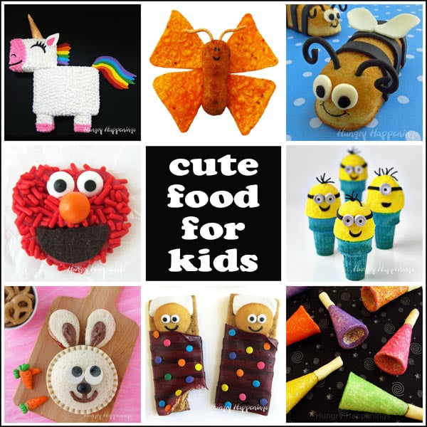 Kid-friendly food including unicorn cake, chicken nugget butterflies, Twinkie Bumble Bees, Elmo Pretzels, Minion Ice Cream Cones, and more. #kidsrecipes #funfood #kidsfood
