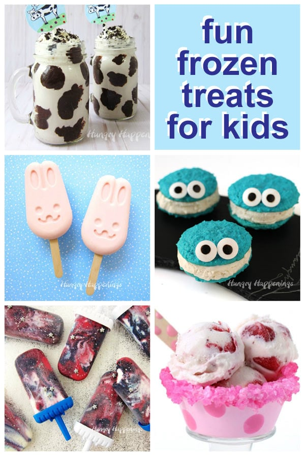 Frozen desserts made for kids including Moo Shakes, Frozen Yogurt Bunnies, Cookie Monster Ice Cream Sandwiches, and more.