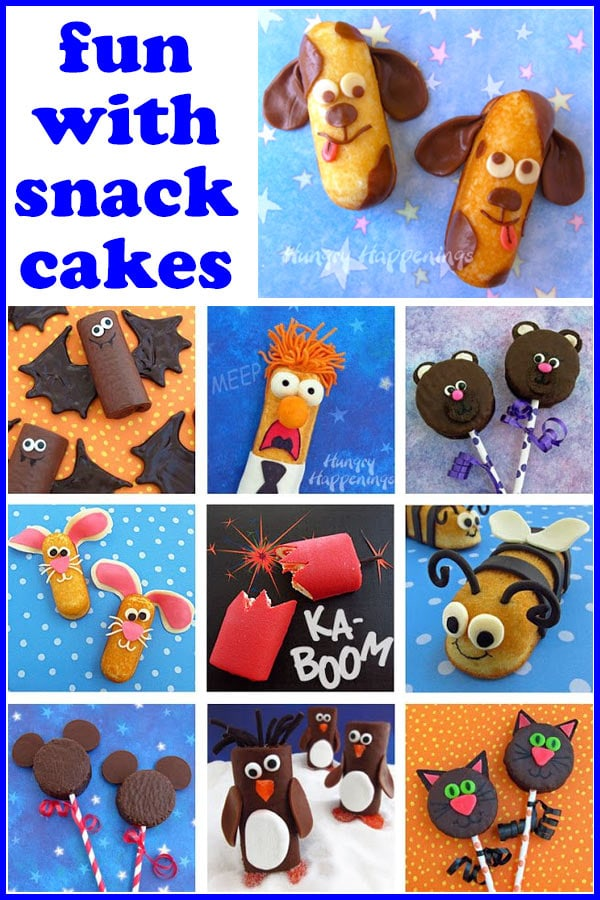 Decorate snack cakes to look like puppies, bats, bears, bunnies, bumble bees, penguins, and more.