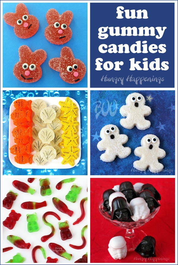 Fun homemade gummy candies for kids including sour bunny gumdrops, gummy ghosts, gummy bears, worms, and more.