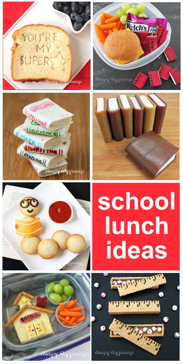 Crafty school lunch ideas for kids including school house sandwiches, tortilla book sandwiches, fruit roll books and more.