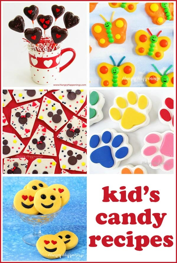 Kid's candy recipes including homemade Tootsie Pops, Mickey Mouse Chocolate Bark, Emoji Fudge, and more.