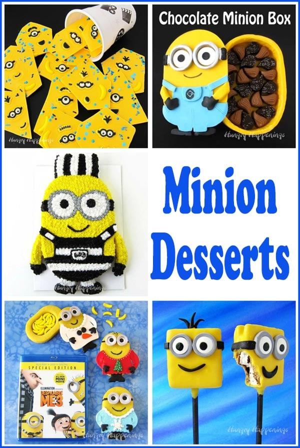 Minion Desserts including a Minion Cake, S'more Minion Lollipops, Minion Chocolates, Minion Cookies, and more.