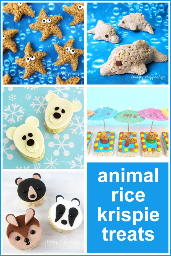Animal Rice Krispie Treats including dolphins, polar bears, starfish, and more.
