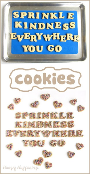 "plain and decorated ""Sprinkle Kindness Everywhere You Go"" cut-out cookies"