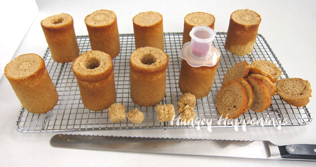 use a cupcake corer to cut wells into each root beer cake