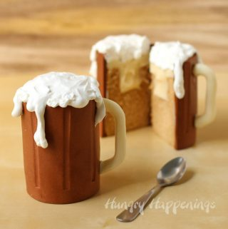 Root Beer Mug Cakes filled with vanilla ice cream ganache and topped with foamy whipped cream