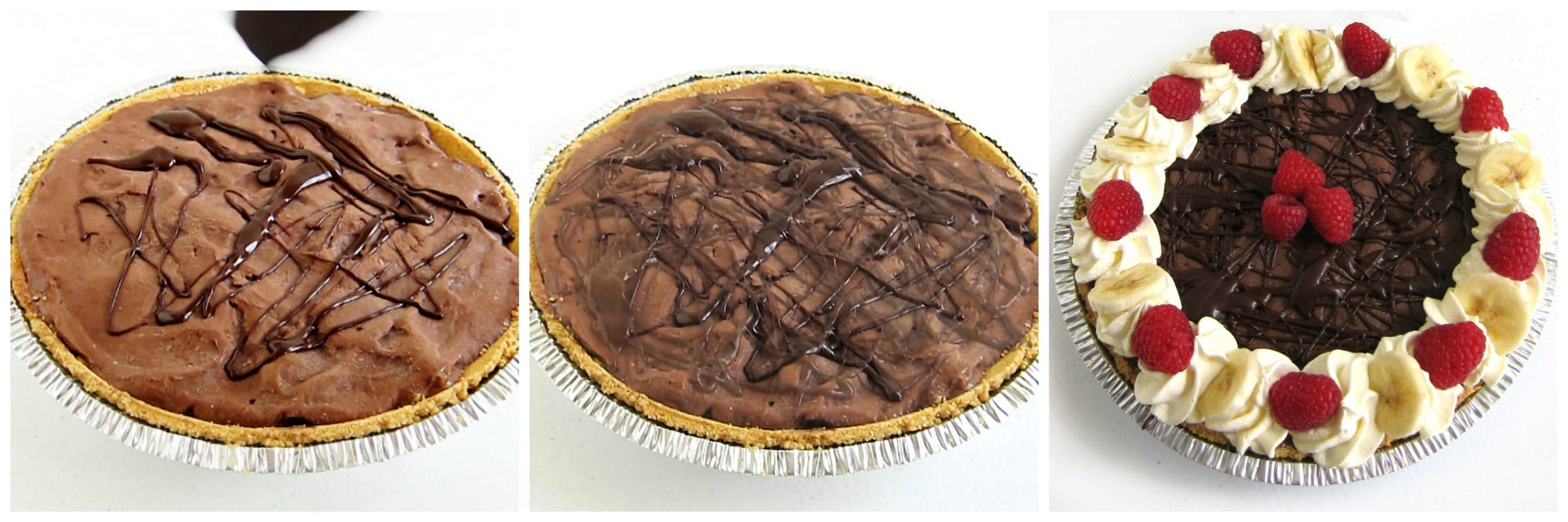 chocolate banana raspberry nice cream pie