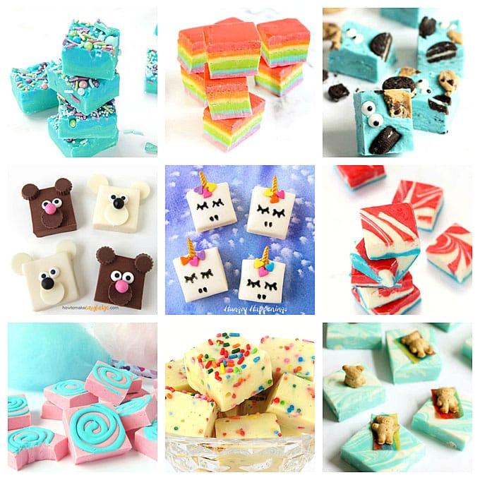 mermaid fudge, rainbow fudge, Cookie Monster fudge, fudge bears, fudge unicorns, 4th of July fudge, cotton candy fudge, cake batter fudge, pool party fudge
