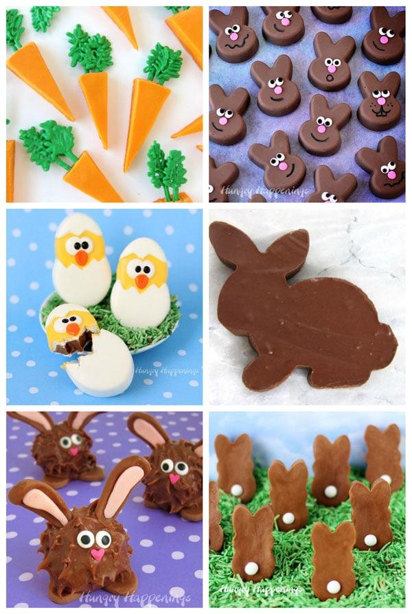Easter fudge including orange fudge carrots, Reese's fudge bunnies, caramel fudge hatching chicks, sugar-free fudge bunnies, peanut butter fudge bunnies, caramel chocolate fudge bunnies