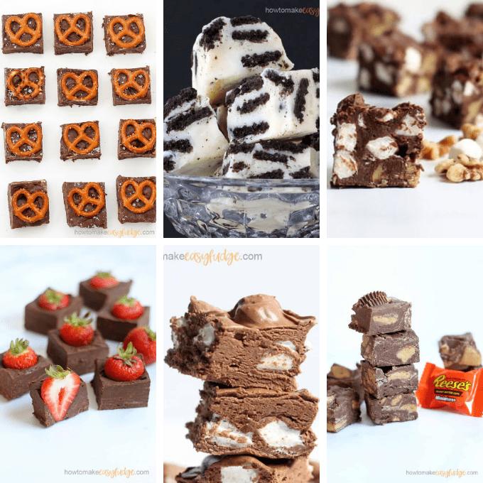 chocolate pretzel fudge, cookies and cream fudge, rocky road fudge, chocolate strawberry fudge, marshmallow fudge, Reese's Cup fudge