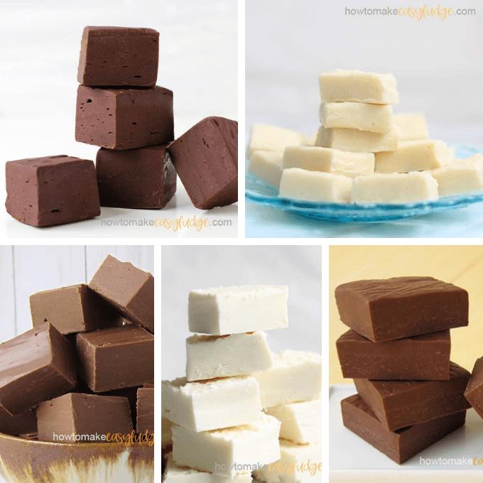 dark chocolate fudge, vanilla fudge, Nutella Fudge, white chocolate frosting fudge, and milk chocolate fudge