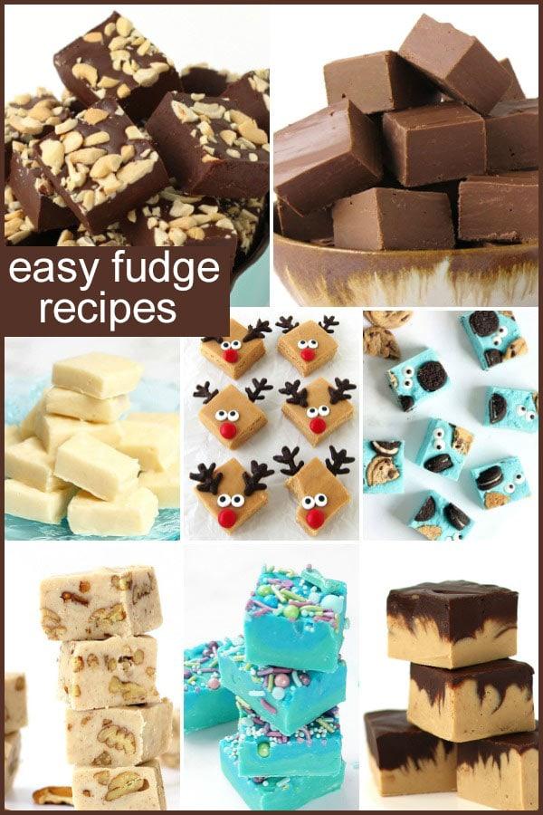 Easy fudge recipes including cashew butter fudge, Nutella fudge, vanilla fudge, reindeer fudge, Cookie Monster fudge, butter pecan fudge, mermaid fudge, chocolate peanut butter fudge