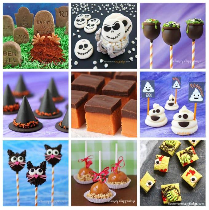 Halloween fudge tombstones, Jack Skellington fudge, fudge cauldrons, Nutella fudge witch hats, Butterfinger fudge, fudge ghosts, fudge cats, fudge caramel apples, zombie fudge