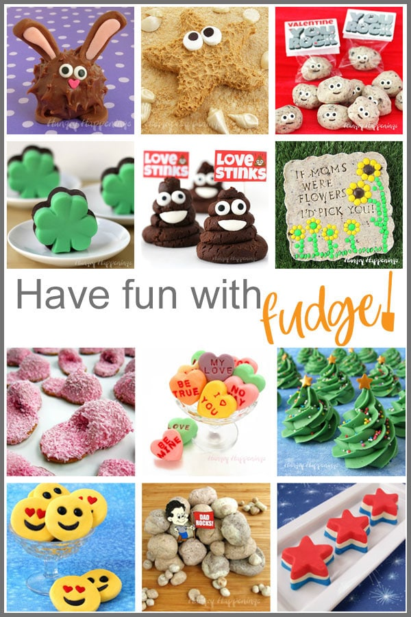 holiday fudge recipes including fudge bunnies, peanut butter fudge starfish, fudge rocks, fudge Christmas trees and more