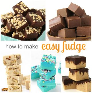 how to make easy fudge featured image with cashew, chocolate hazelnut, butter pecan, mermaid, and chocolate peanut butter fudge pictures