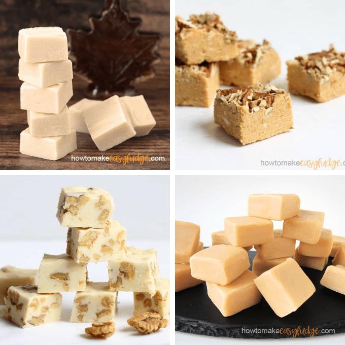 easy maple fudge, pumpkin fudge, maple walnut fudge, and caramel fudge