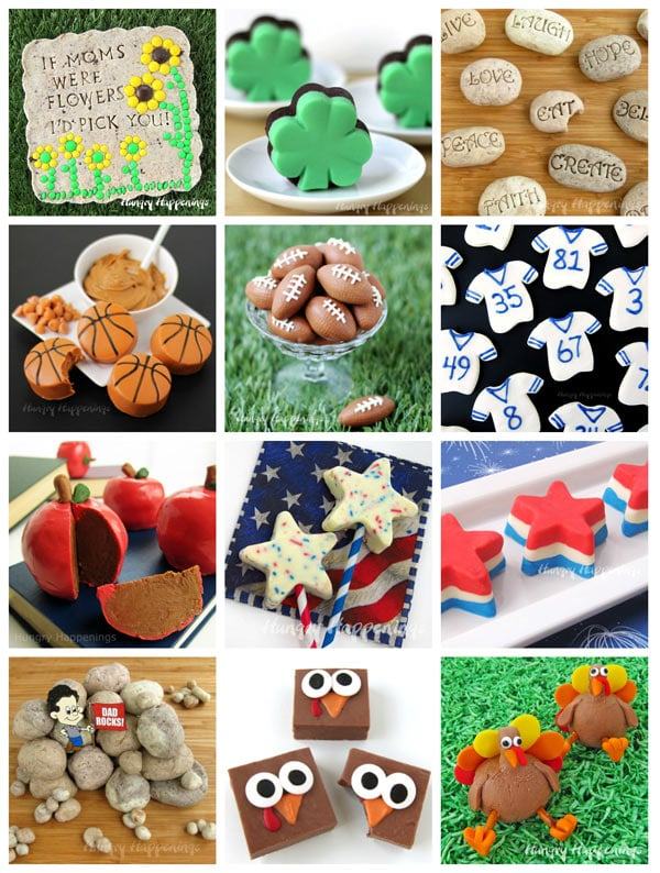 fudge garden stones, fudge shamrocks, fudge serenity stones, fudge basketballs, fudge footballs, fudge jerseys, fudge apples, fudge stars, fudge rocks, and fudge turkeys
