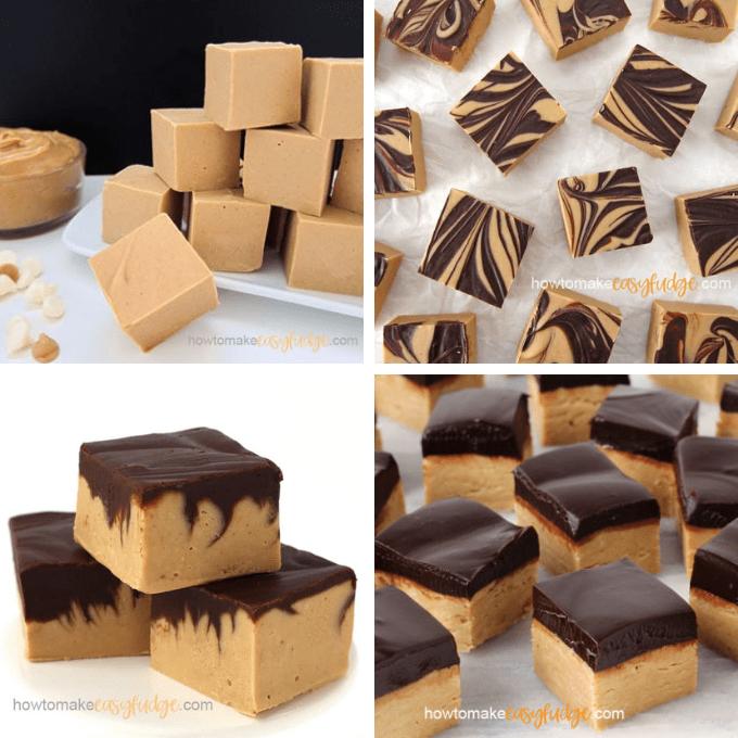 creamy peanut butter fudge, tiger butter fudge, chocolate peanut butter fudge, and buckeye fudge